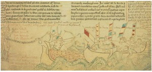 Eustace's death at the Battle of Sandwich (13th century illustration by Matthew Paris)  – Wikimedia Commons
